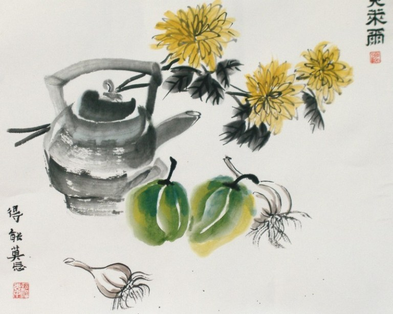 Chrysanthemum and tea by Claire Seaton