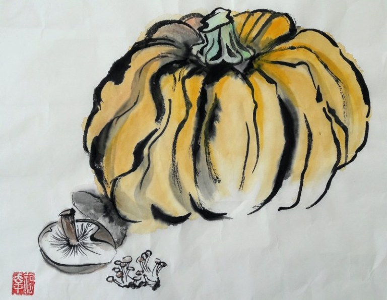 Pumpkin and mushrooms by Claire Seaton