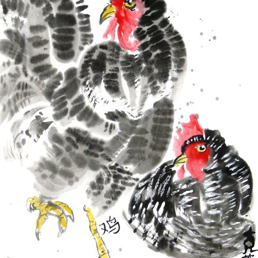 Rooster and Chicken by Claire Seaton