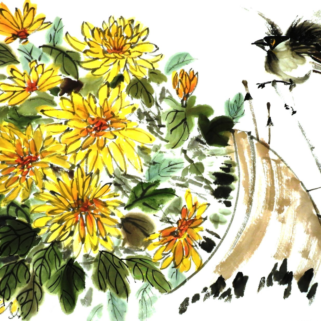 Chrysanthemum and bird by Claire Seaton 2019