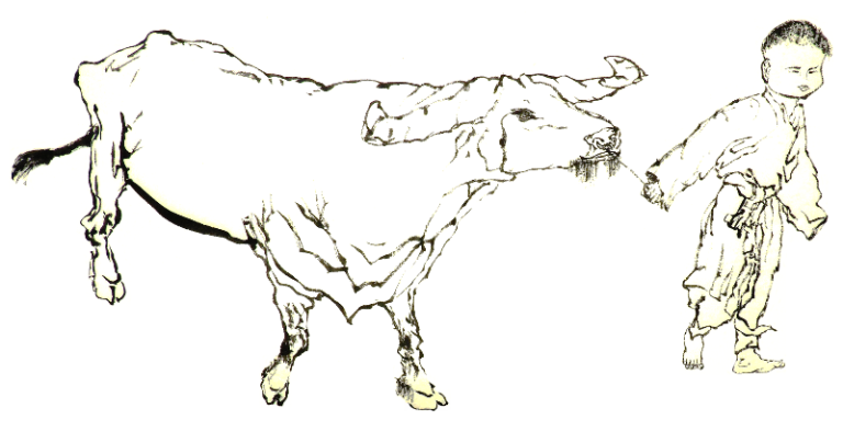 Ox and boy 1 - outline - Paul Maslowski 2018