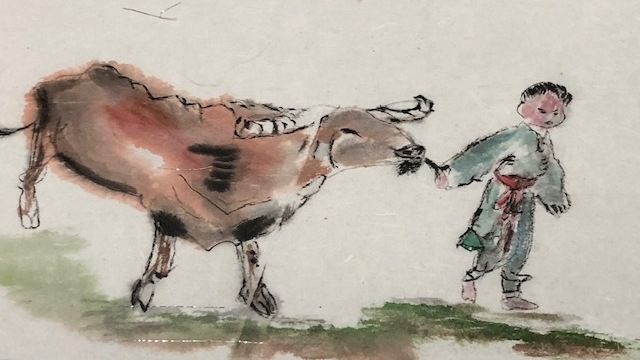 Ox and boy by Janice Biscoe 2020