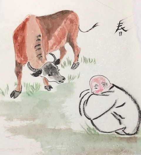 Spring Ox and boy - Janice Biscoe 2020