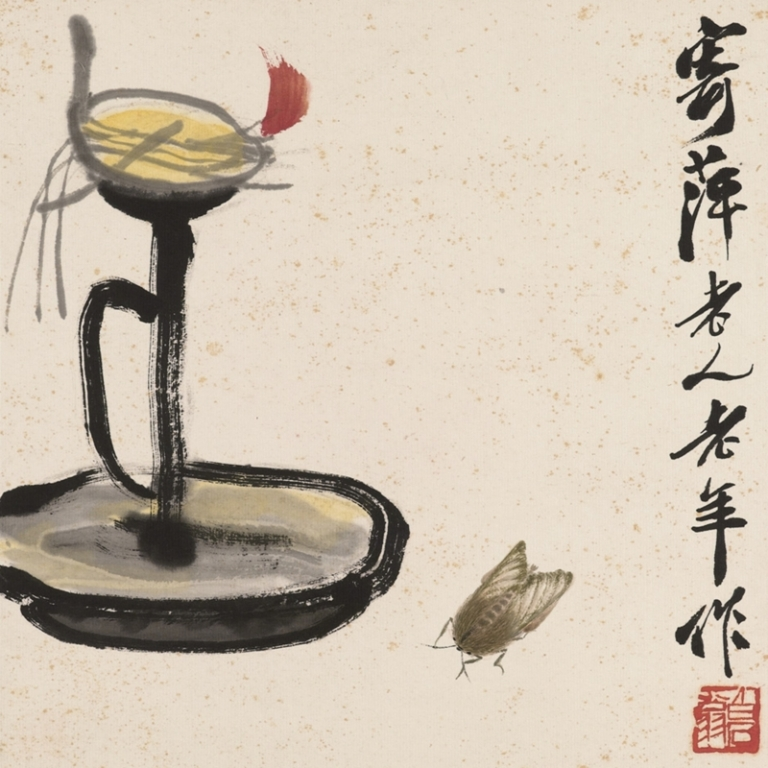 Candlestick and Insect - detail - Qi Baishi
