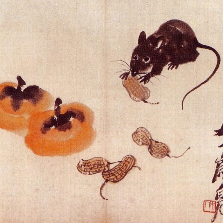 Rat Peanuts and Persimmon - Qi Baishi 1950