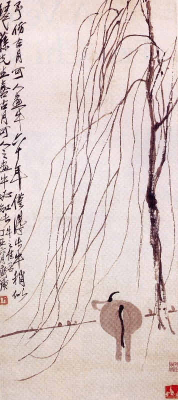 Willow and Cow - Qi Baishi 1937 85x37cm