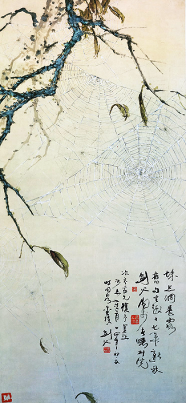 Dew on a Spider web in the early morning - Gao Jianfu 1928