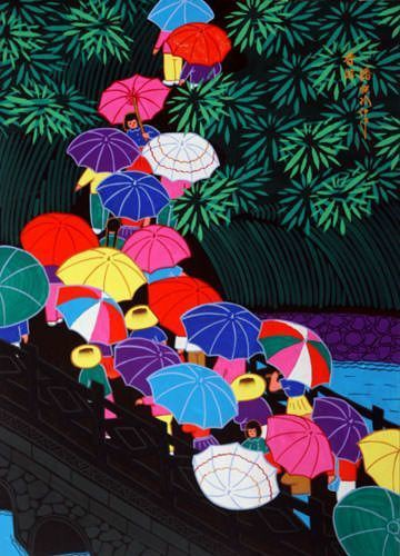 Chinese Umbrellas folk art