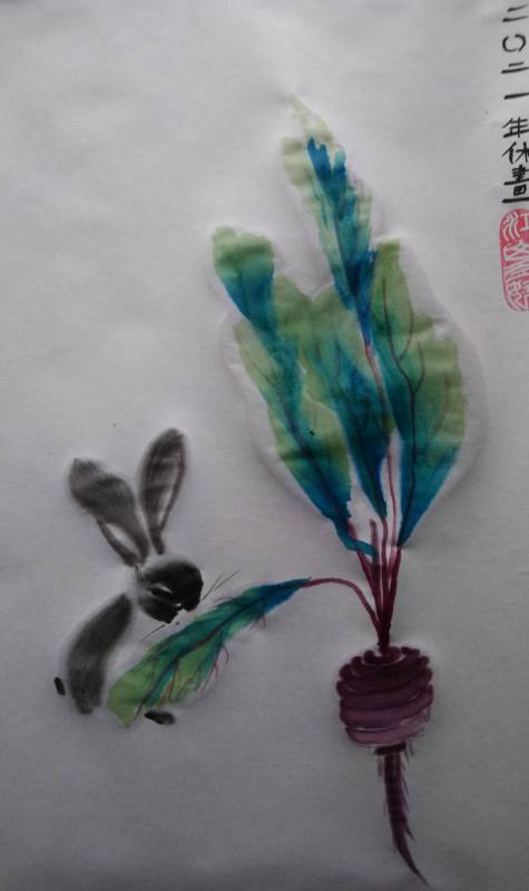 Rabbit Turnip and Blue Green Leaves - Sue Smith 2021