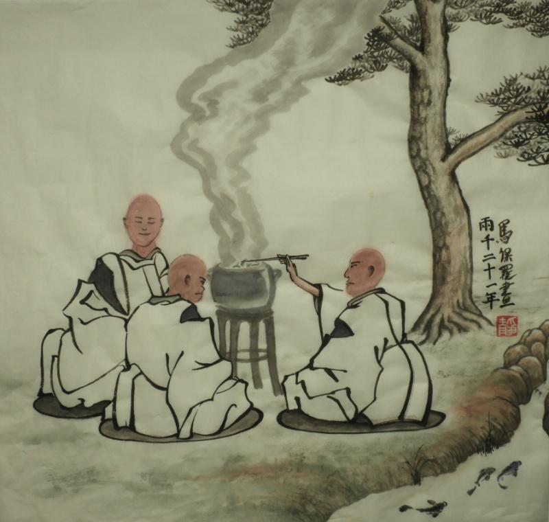 3 monks and fish - P Maslowski 2021